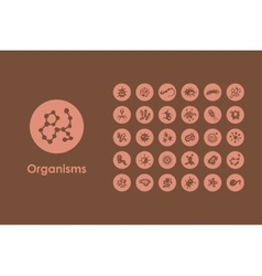 Set of organisms simple icons vector image