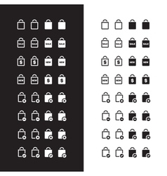 Shopping bag icons on black and white background vector image