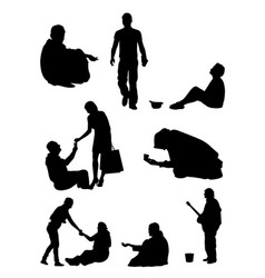 silhouette of beggar vector image