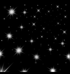 Silver light stars on black background vector