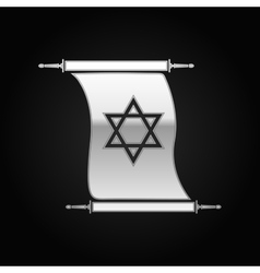 Silver Star of David on scroll icon to black vector