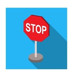 Stop road sign icon in flat style isolated on vector image