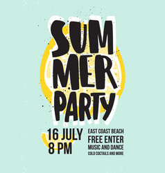 summer dance party invitation or poster template vector image