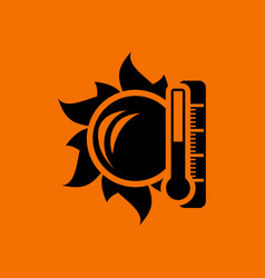 sun and thermometer with high temperature icon vector image