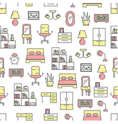 Thin line art bedroom seamless pattern vector