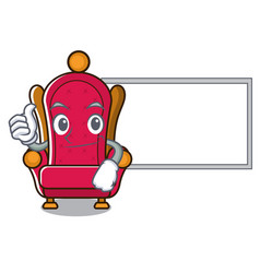 thumbs up with board king throne character cartoon vector image