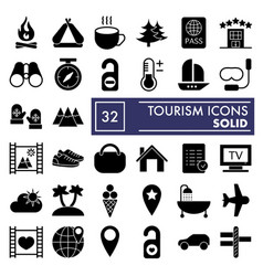 Tourism glyph icon set travel symbols collection vector