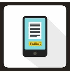 Translator on phone icon flat style vector image