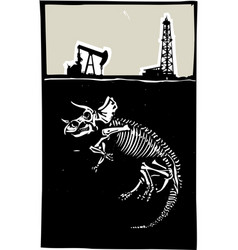 triceratops fossil fuel exploration vector image