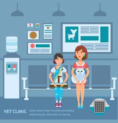 Vet clinic queue web banner color template vector