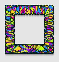 Vibrant square frame in modern art style wavy vector