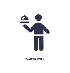Waiter with food tray icon on white background vector