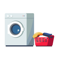 Washing machine and laundry dirty clothes basket vector