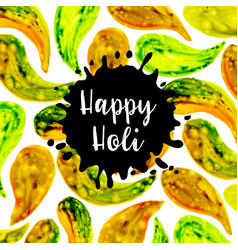 watercolor holi splatter background vector image