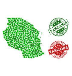 Welcome collage of map of tanzania and scratched vector