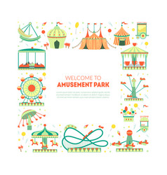 Welcome to amusement park banner template with vector