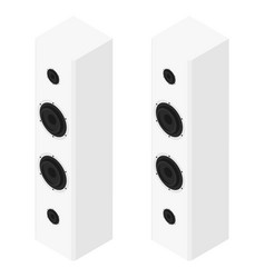 white acoustic speakers loudspeakers isolated on vector image