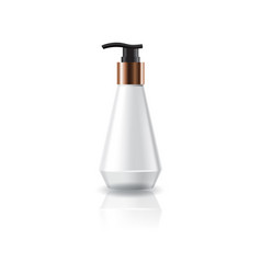 White cosmetic cone shape bottle with pump head vector