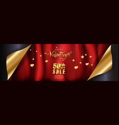 Wide banner luxury design for valentines day sale vector