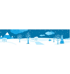 winter landscape horizontal cartoon flat scene vector image