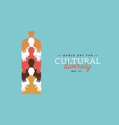 World day cultural diversity colorful people card vector