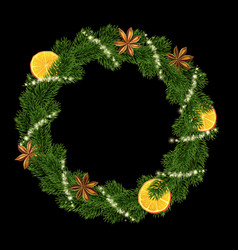 xmas wreath garland spices orange and fir vector image
