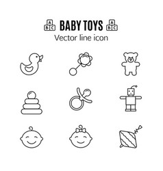baby toys thin line icon outline symbol kid vector image