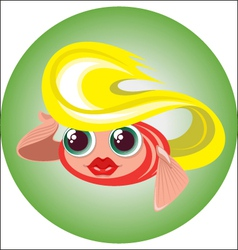 cute blonde little fish in a circle vector image vector image