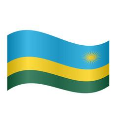 flag of rwanda waving on white background vector image vector image