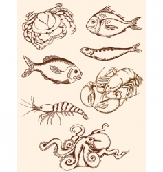 hand drawn seafood icons vector image vector image