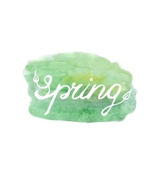 Spring lettering on green abstract backgr vector image