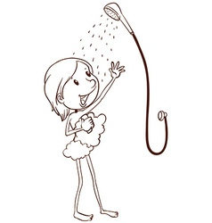 A young girl taking a shower vector