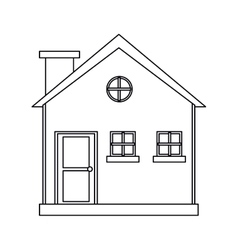 cottage wooden chimney exterior outline vector image vector image