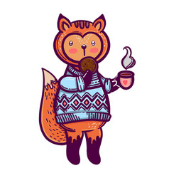 cute animal a little fox with a cup of tea and a vector image