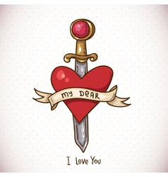 Doodle Greeting Card with sword ribbon and heart vector image