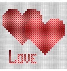 Hand-made red heart symbol vector