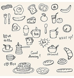 Icons breakfast foods vector image vector image