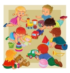 Little boys and girls sitting on the floor playing vector image vector image