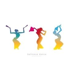 Silhouette girls Balinese dance vector image