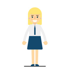 smiling blonde girl in corporate uniform vector image vector image