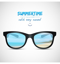 Summer sunglasses with beach reflection vector image