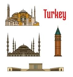Turkey historic architecture buildings vector