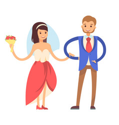 woman with veil man in suit vector image
