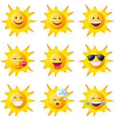 different facial expressions of the sun vector image
