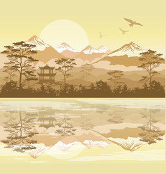 japanese landscape with forest lake and mountains vector image