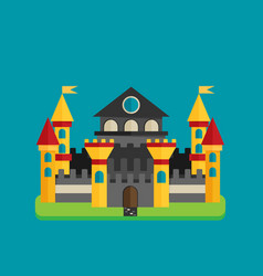 Magical fabulous cartoon castle flat vector
