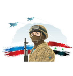 Russian special forces soldier and kalashnikov on vector