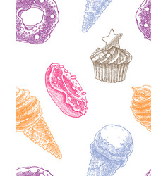 seamless decorative pattern with ice cream cones vector image
