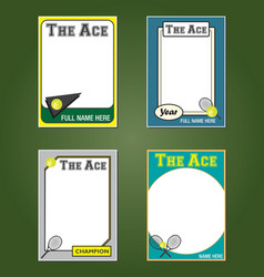 Tennis Cards vector image vector image