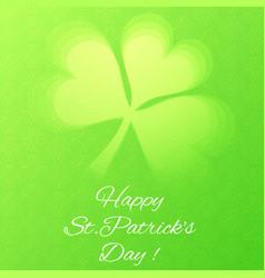 Card with semi transparent shamrock leaf vector